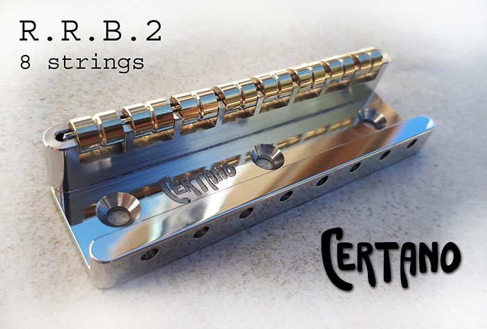 The R.R.B.2 bridge is designed for eight-string instruments
