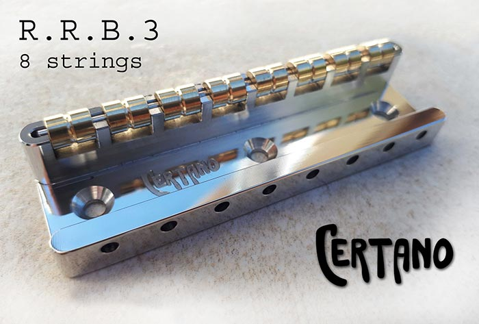 The R.R.B.3 bridge is designed for eight-string instruments